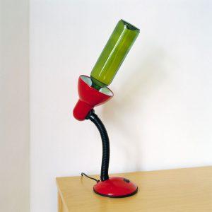 Wine bottle replacing light bulb